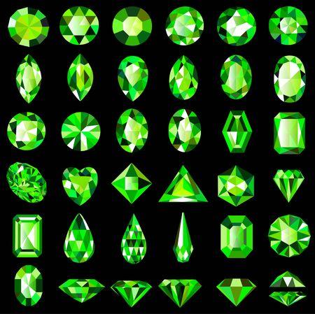 Ilustracja zestaw zielonych kamieni szlachetnych szmaragd o różnych cięciach i kształtach.