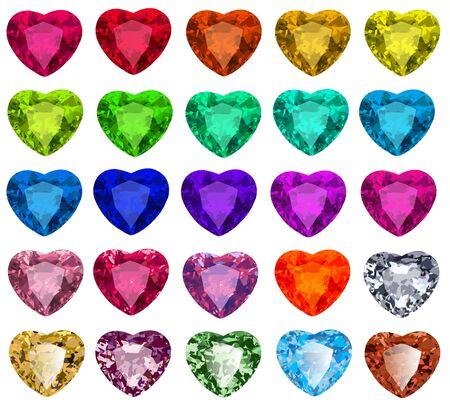 Illustration set of cut gemstones with heart in different colors Ilustração Vetorial