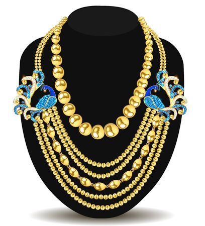 Illustration of a gold feminine necklace with peacock beads