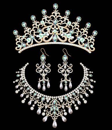 Illustration de l'ensemble de bijoux. Diadème, collier et boucles d'oreilles avec pierres précieuses.