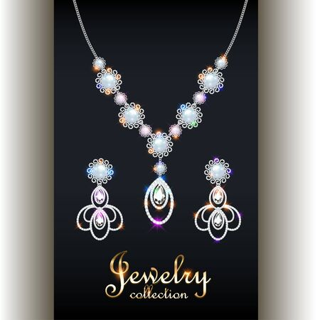 Illustration set of elegant necklace, earrings with precious stones, pearls and inscription jewelry collection.