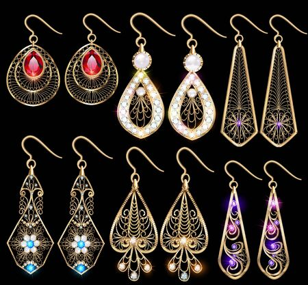 Illustration set of elegant jewelry earrings with precious stones and filigree. Иллюстрация