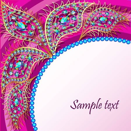 illustration background with the Golden peacock feathers of precious stones