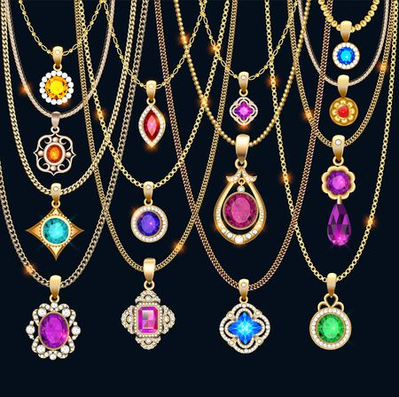 Illustration set of gold jewelry pendants with precious stones on chains