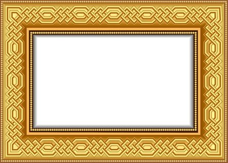 Illustration background frame for a picture gilded with interlocking volumetric pattern