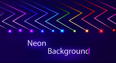 Illustration abstract neon background with luminous lines of lightning and flashes.