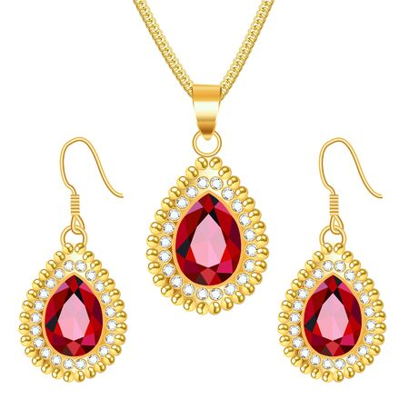 Illustration set of gold jewelry pendant on a chain and earrings with rubies