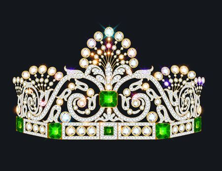 Illustration of a beautiful crown, tiara tiara with gems and pearls. Vector crown element for design Ilustração