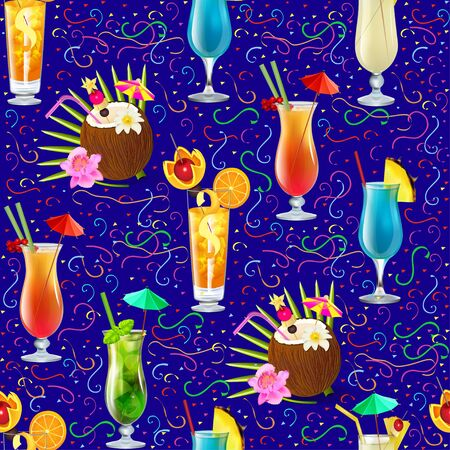 Illustration seamless background with tropical alcoholic cocktails and fruits.