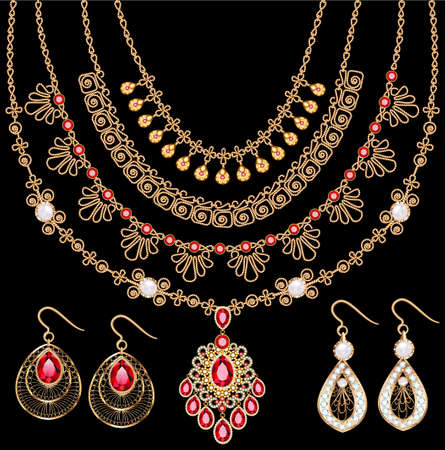 Illustration set of gold jewelry pendants necklaces on a chain and earrings with rubies and filigree Vettoriali