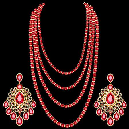 Illustration set of multi-layered ruby beads with diamonds and earrings of Indian jewelry designs.