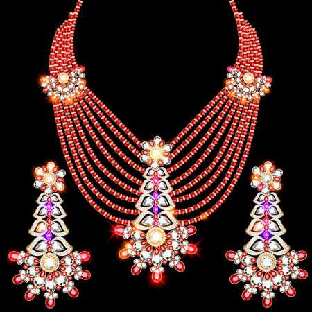 illustration set of necklace and earrings, wedding female diamond