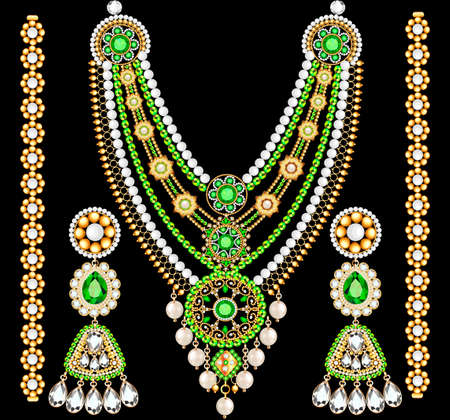 Illustration of jewelry set bracelet earrings and necklace with precious stones. Ilustracje wektorowe