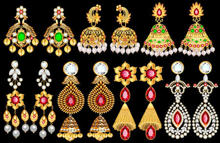 Illustration of a set of gold earrings jewelry with precious stones