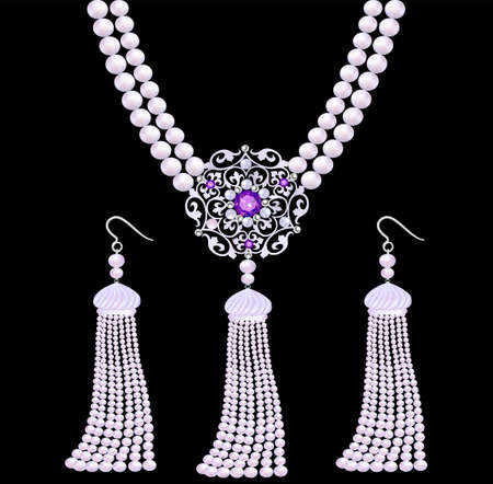 Illustration set of jewelry necklaces and earrings in the form of pearl brushes Vettoriali