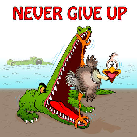 Illustration vector comic Alligator is trying to eat an ostrich, but he has strong legs that do not allow to close his mouth and the inscription never give up