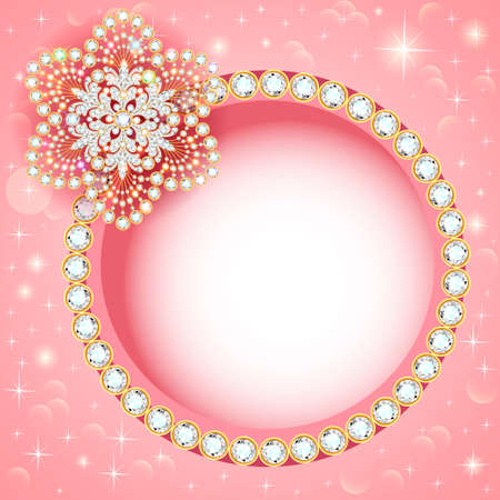Illustration jewelry background with gold and precious stones.
