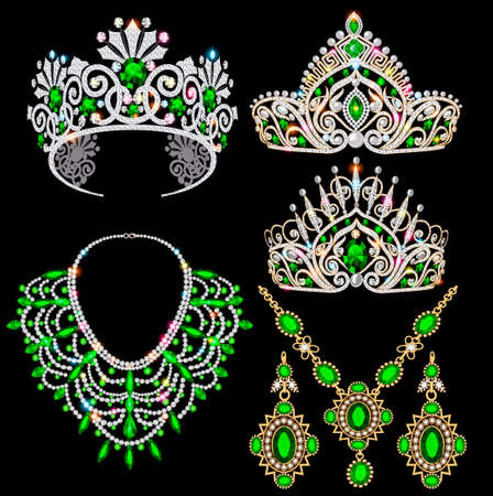 Illustration of a jewelry set with a chain with a pendant, earrings, necklace and tiara with precious stones, beads and pearl.
