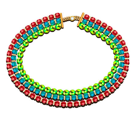 illustration of a necklace of three rows of beads of different colors on a white background
