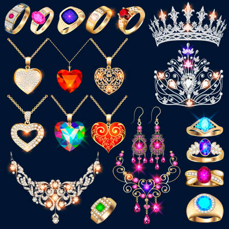Illustration set of jewelry made of gold and silver with precious stones rings, earrings, necklaces, tiaras and pendants with hearts.