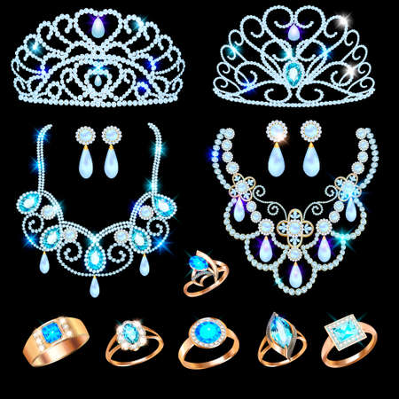 Illustration of a jewelry set with a chain with a pendant, earrings, necklace and tiara with multi-colored precious stones, beads and pearl. Vettoriali