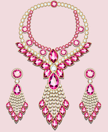 illustration set of necklace and earrings, wedding female diamond