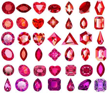 Illustration set of red gems of different cuts and shapes Vector Illustration