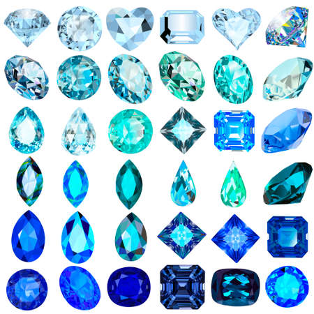 Illustration set of blue and blue gems of various cuts and shapes.