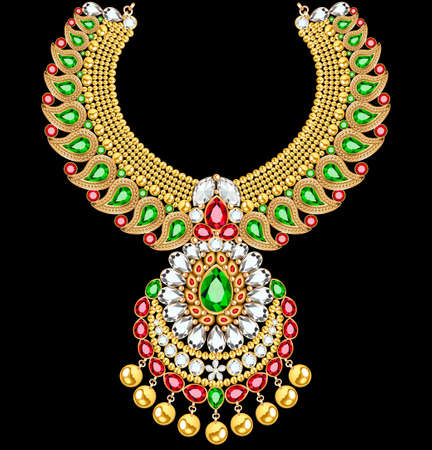 Stock Illustration Gold indian wedding necklace with precious stones
