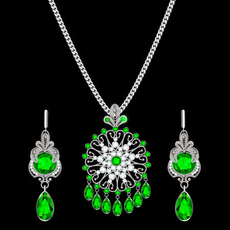 Illustration of a filigree silver jewelry set pendant on a chain and earrings with precious stones