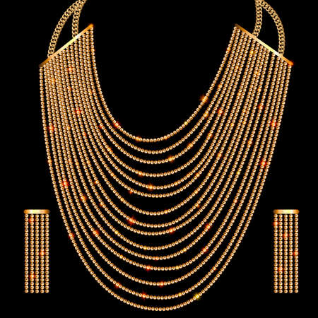 Illustration set jewelry gold vintage necklace and earrings Vettoriali