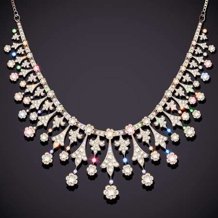 Illustration jewelry silver vintage necklace with precious stones