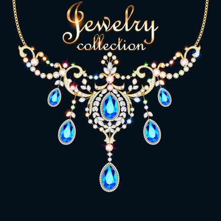 Illustration elegant necklace with precious stones and the inscription jewelry collection