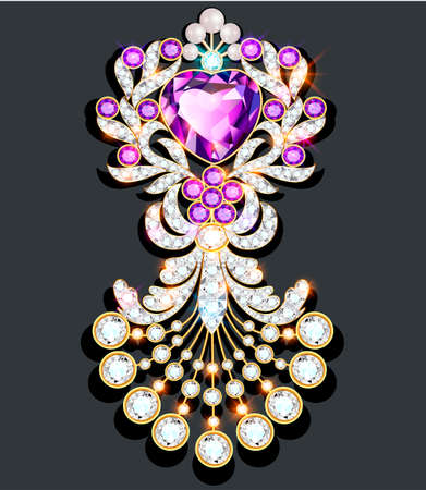 Illustration brooch in the shape of a heart with pearls and precious stones. Filigree Victorian jewelry. Design element