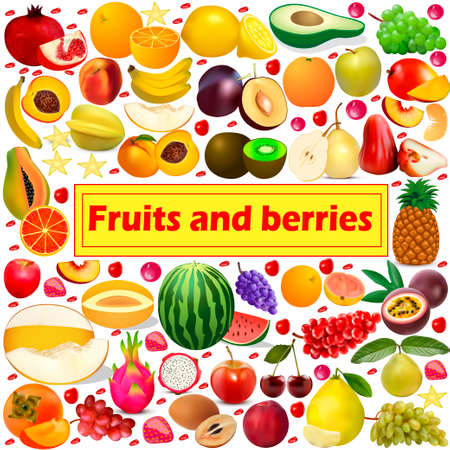 Illustration summer background Fruits and berries icon set