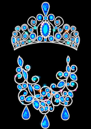 Illustration set of jewelry diadem and necklace with precious stones