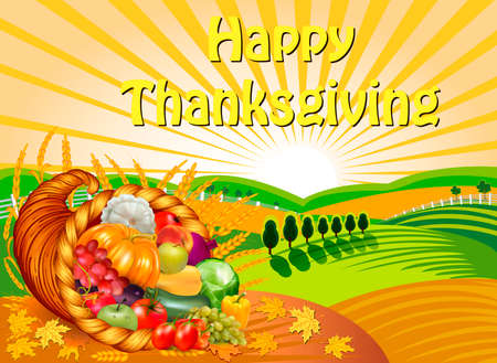 Thanksgiving illustration greeting card with cornucopia of fruits and vegetables on a harvested field with spikelets.