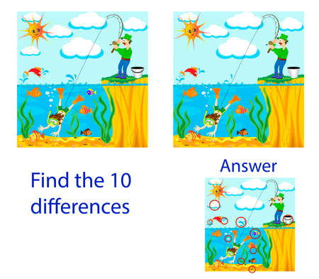 Children's illustration Visual Puzzle: find ten differences from the fisherman has caughted on fishing rod of the diver