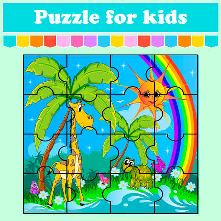 Puzzle game for kids. Animals in the meadow. Education worksheet. Color activity page. Riddle for preschool. Isolated vector illustration. Cartoon style. Ilustração