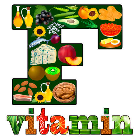 Illustration of vitamin F one in plant and animal products located in the letter Çizim