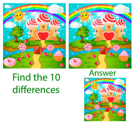 Children illustration. The visual puzzle shows ten differences with of candy land with waffle and cream castle lollipops and berries by a stream with a rainbow and sun. Cartoon style.