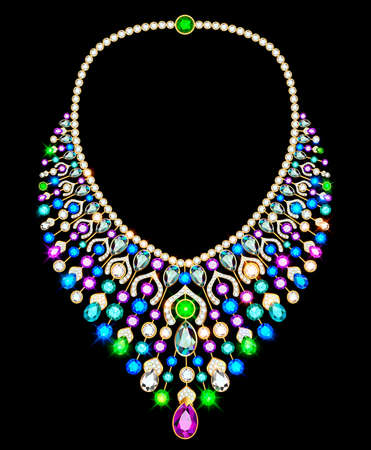 Illustration of a jewelry women's gold necklace with precious stones