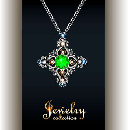 Illustration elegant pendant with precious stones and the inscription jewelry collection