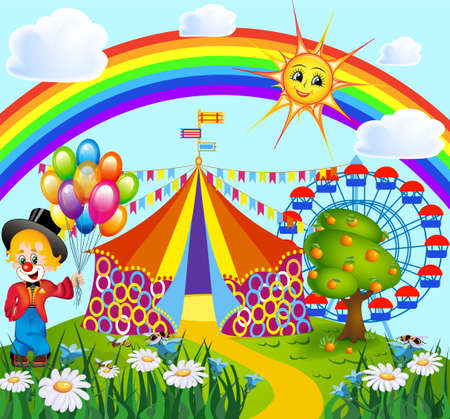 Illustration of a clown in a garden with a circus and a ferris wheel from behind on a rainbow background