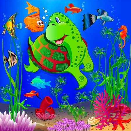 Illustration of a children's underwater landscape with various aquatic plants and floating tropical fish and a turtle. Cartoon style Vektorové ilustrace