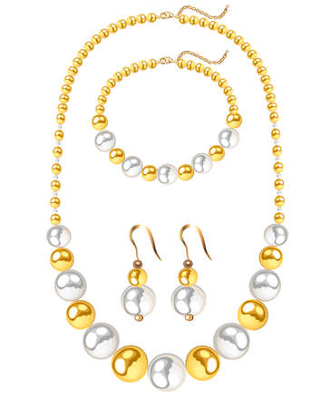Illustration set of jewelry necklace, bracelet and earrings from gold and pearl beads