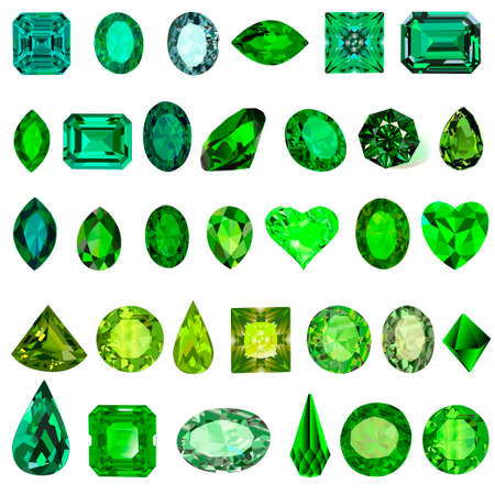 Illustration set of green gems of different shades and cuts of emerald
