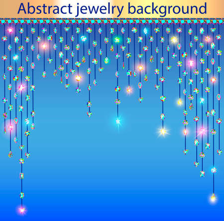 Illustration of abstract shiny jewelry background with precious stones
