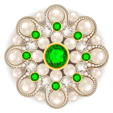 Illustration of a jewelry brooch with emeralds and pearls.