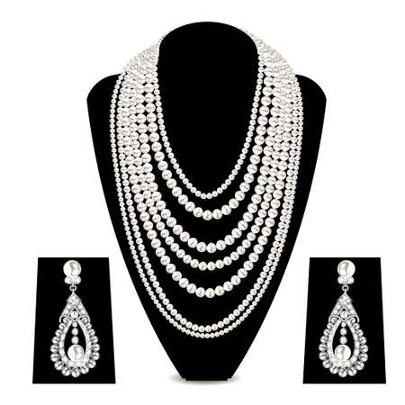 Illustration set of jewelry necklace and earrings from pearl beads